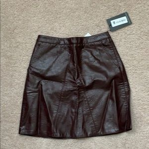 Brown Faux Leather Skirt with Pockets NWT Small